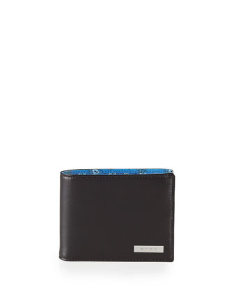 Paisley Bifold Wallet, Black/Blue Multi