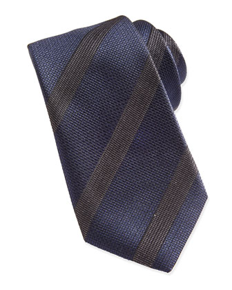 Regimental-Stripe Silk Tie, Navy