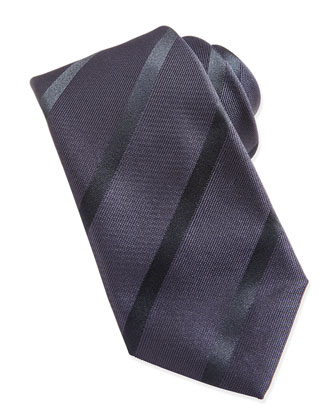 Woven Striped Tie, Navy