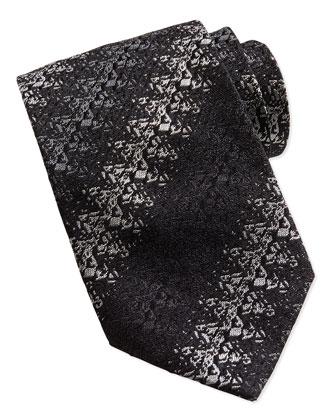 Diagonal-Zigzag Tie, Black/Gray