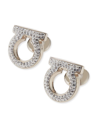 Crystal Studded Gancini Cuff Links