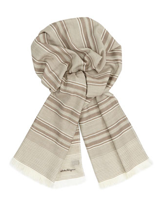 Men's Striped Wool Scarf, Beige