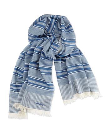 Wool Striped Scarf, Denim