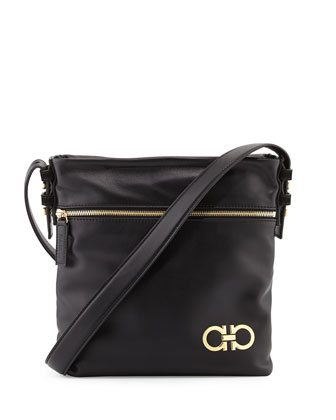Men's Nevada Leather Crossbody Bag, Black