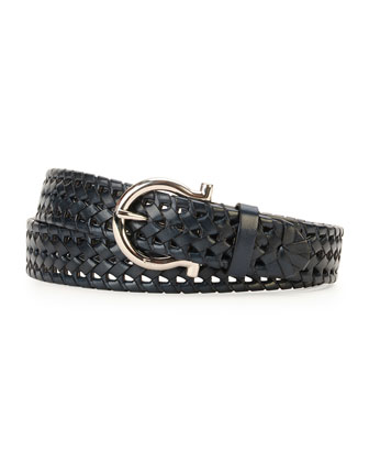 Braided Single Gancini Belt, Blue