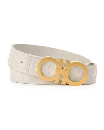 Gancini Stamped Calfskin Belt, Off-White