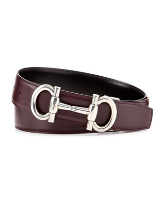 Reversible Gancini-Buckle Belt, Wine/Black