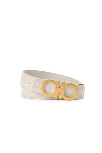 Gancini Stamped Calfskin Belt, Off-White