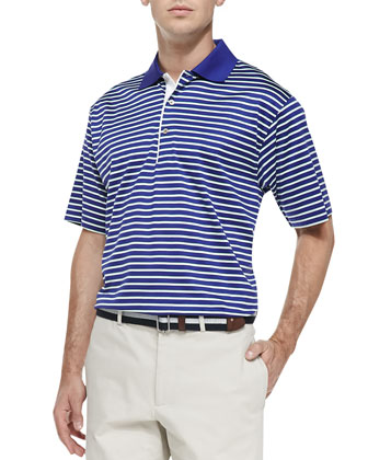 Bugle Stripe Lisle-Knit Polo, Purple