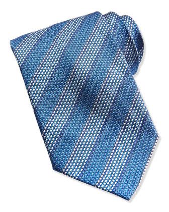 Diagonal Stripes Knit Tie, Blue