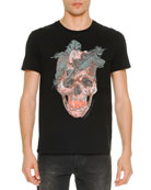 Feather-Skull-Print Tee, Black