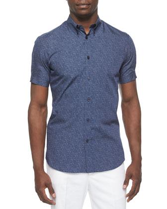 Woven Short-Sleeve Shirt, Blue