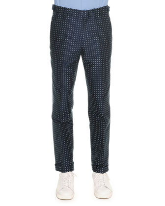 Polka-Dot Jacquard Trousers, Blue