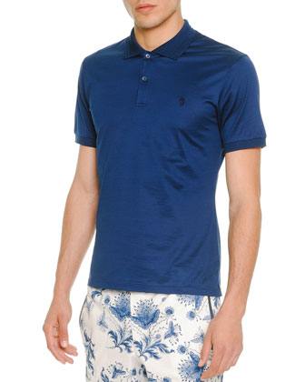 Short-Sleeve Logo Polo, Blue