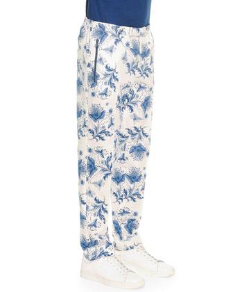 Bandana-Print Cotton Trousers, Blue/White