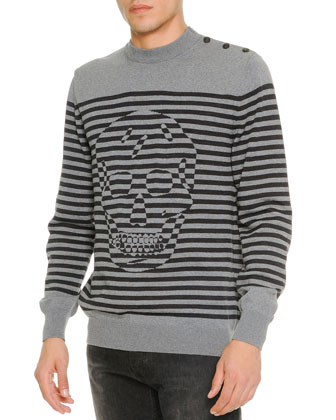 Tonal-Skull & Striped Sweater, Gray