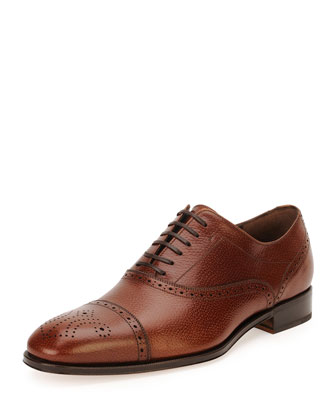 Caesy Textured Calfskin Medallion-Toe Lace-Up, Brown
