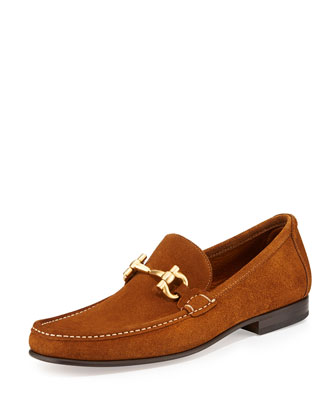 Giordano Suede Gancini Loafer, Light Brown