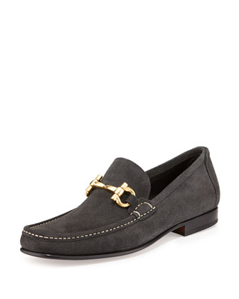 Giordano Suede Gancini Loafer, Gray