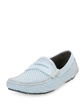 Braided Calfskin Penny Loafer, Light Blue