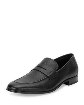 Rocco Pebbled Leather Penny Loafer, Dark Brown