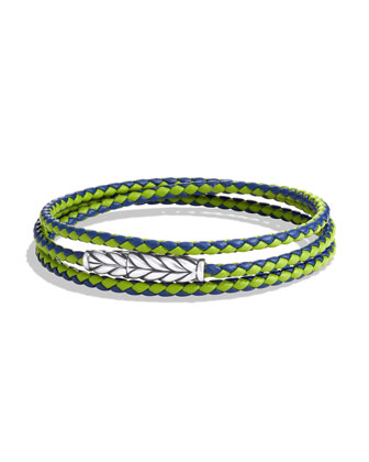 Chevron Triple-Wrap Bracelet in Blue and Green