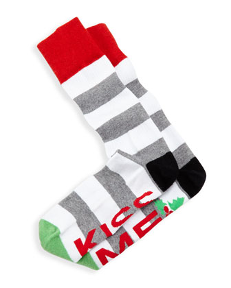 Kiss Me Men's Socks, Heather Gray