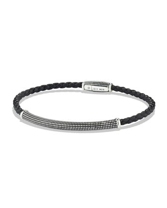 Sky Bracelet in Black Leather, 3mm