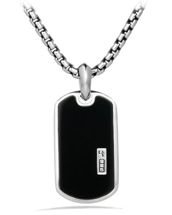 Exotic Stone Tag with Black Onyx on Chain