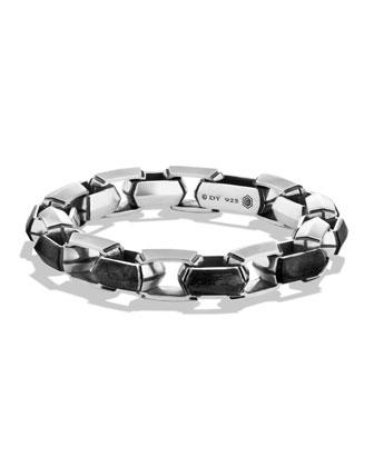 Silver/Carbon Link Bracelet