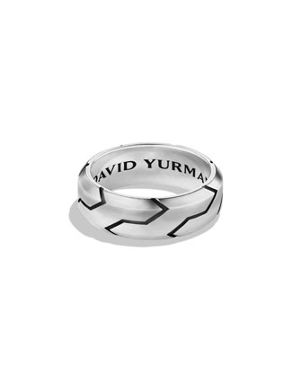 Beveled Forged Carbon Band Ring, Size 10