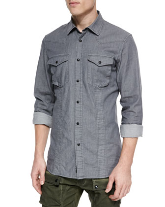 Bowman Long-Sleeve Washed Denim Shirt