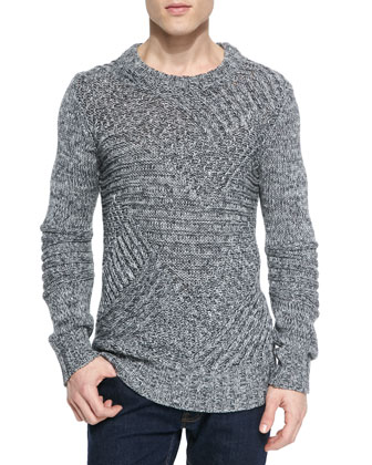 Haversham Fisherman Heavy-Knit Sweater, Gray