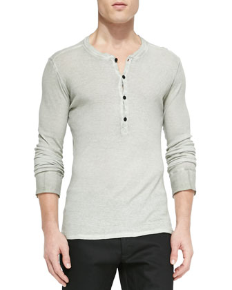 Fielder Long-Sleeve Henley Shirt, Light Gray