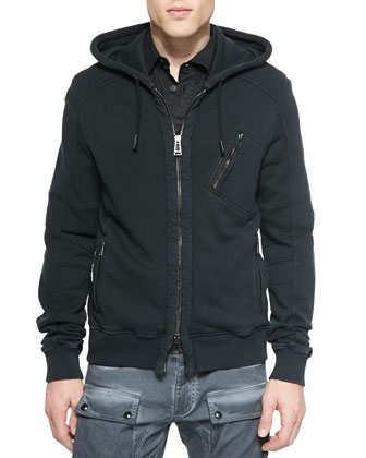 Headley Zip-Up Hoodie Jacket, Black