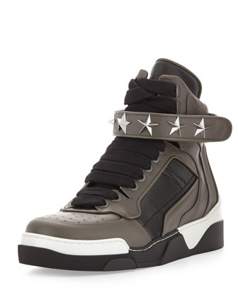 Men's Star Stud Sneaker, Gray/Black