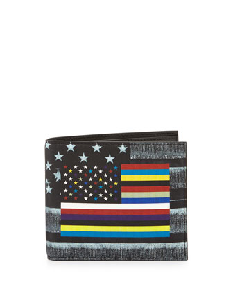 Flag-Print Leather Bi-Fold Wallet