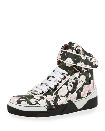 Rose-Print Leather High-Top Sneaker