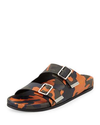 Camo Double-Strap Footbed Sandal, Orange