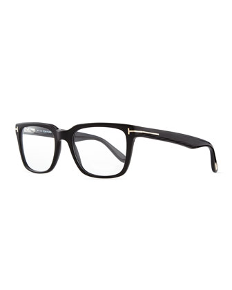 Men's Rectangular Acetate Fashion Glasses, Black