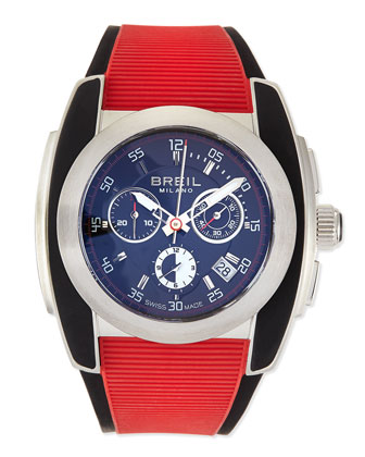 Mediterraneo Rubber-Strap Watch, Red