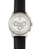 Orchestra Leather-Strap Watch, Black/Silver