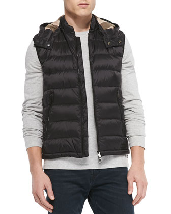 Lightweight Puffer Vest with Hood, Black
