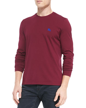 Long-Sleeve Crewneck Tee, Dark Plum/Purple