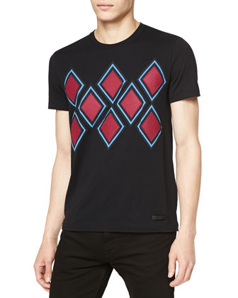 Short-Sleeve Geo Argyle-Print Tee, Black/Red