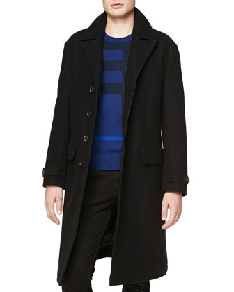 Halston Long Button-Front Coat & Needle-Punch Check Crewneck Sweater
