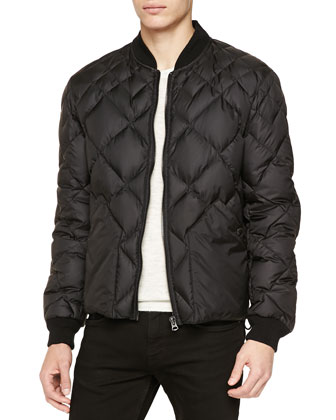 Quilted Zip Bomber Jacket