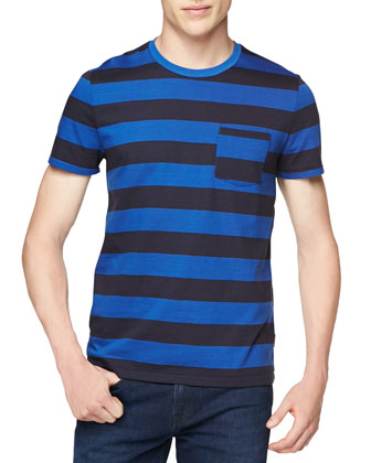 Short-Sleeve Striped Crewneck Tee