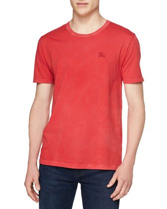 Short-Sleeve Crewneck Slub Tee, Red