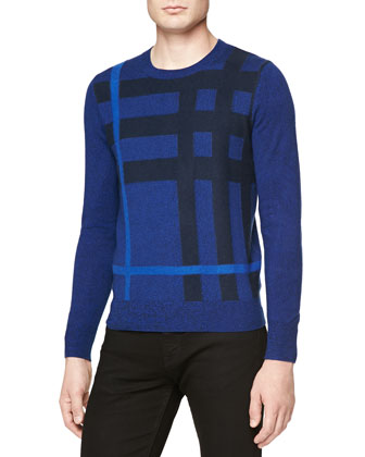 Needle-Punch Check Crewneck Sweater